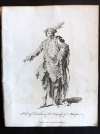 Jefferys C1760 Theatre Costume Print. Habit of Dorilas in the Tragedy of Merope